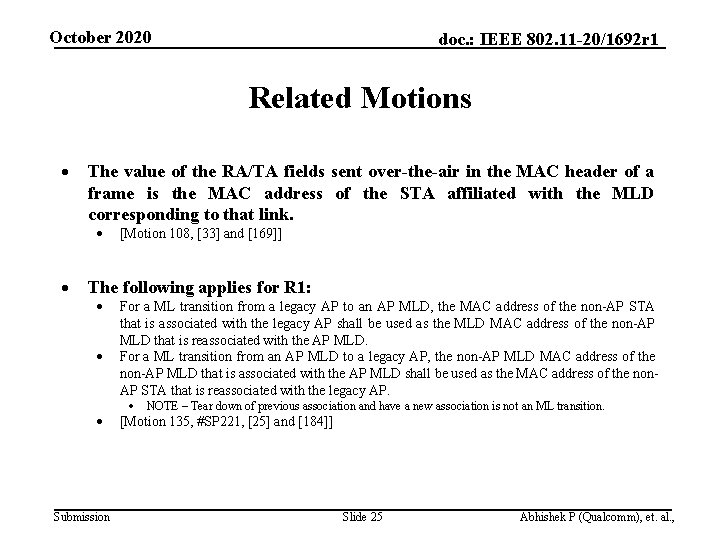 October 2020 doc. : IEEE 802. 11 -20/1692 r 1 Related Motions The value