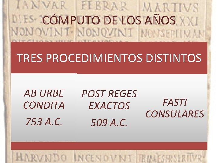 CÓMPUTO DE LOS AÑOS TRES PROCEDIMIENTOS DISTINTOS AB URBE CONDITA POST REGES EXACTOS 753