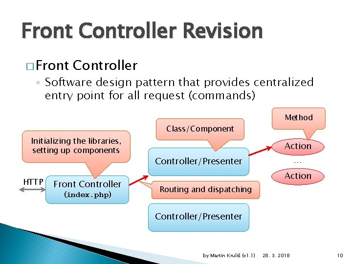 Front Controller Revision � Front Controller ◦ Software design pattern that provides centralized entry