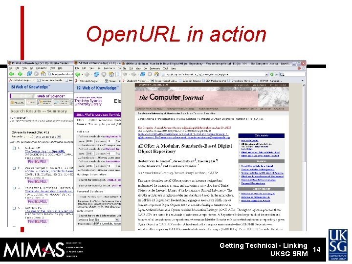Open. URL in action Getting Technical - Linking 14 UKSG SRM