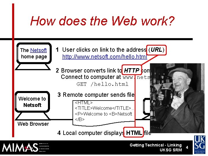 How does the Web work? The Netsoft home page 1 User clicks on link