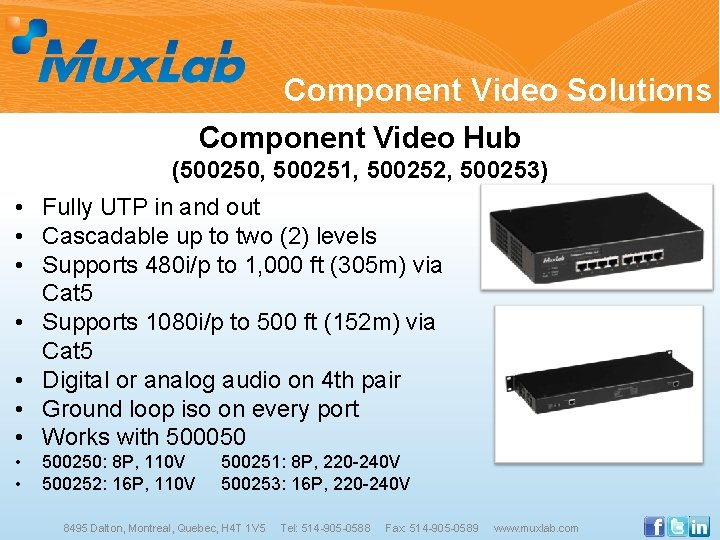 Component Video Solutions Component Video Hub (500250, 500251, 500252, 500253) • Fully UTP in