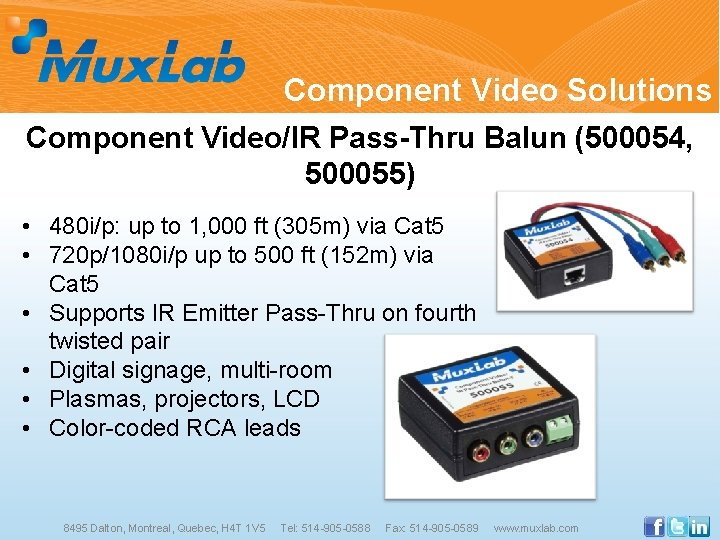 Component Video Solutions Component Video/IR Pass-Thru Balun (500054, 500055) • 480 i/p: up to
