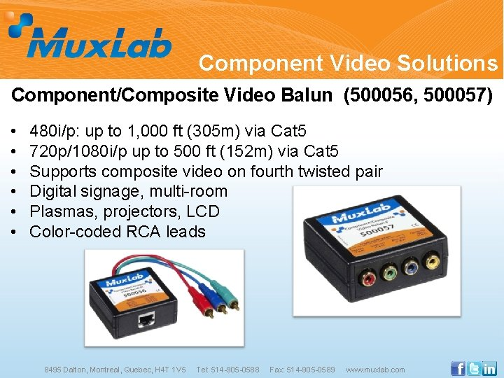 Component Video Solutions Component/Composite Video Balun (500056, 500057) • • • 480 i/p: up