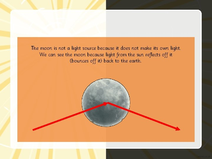 The moon is not a light source because it does not make its own