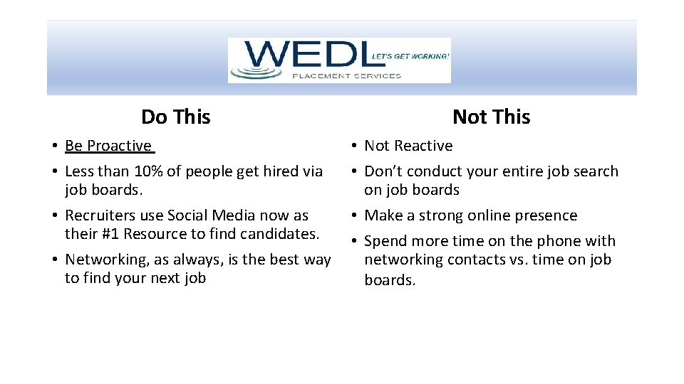 Do This • Be Proactive • Less than 10% of people get hired via