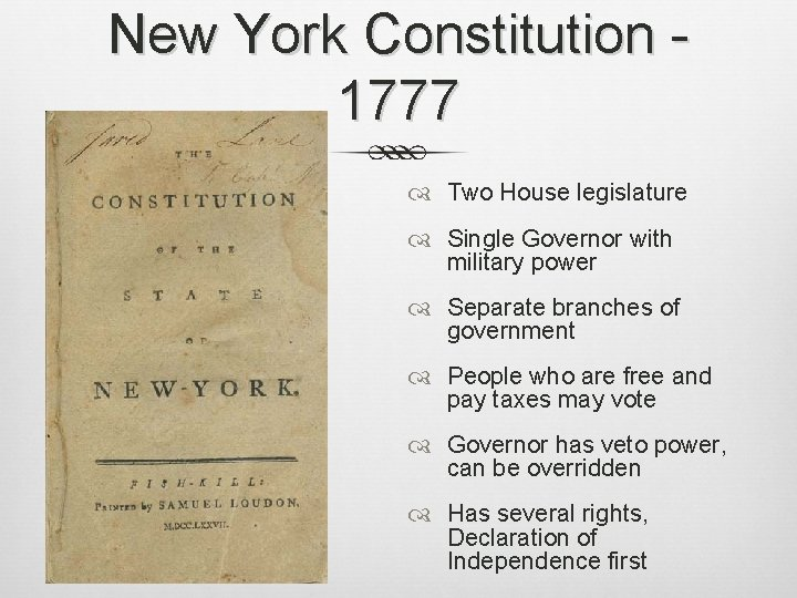 New York Constitution 1777 Two House legislature Single Governor with military power Separate branches