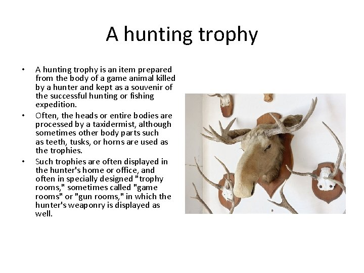 A hunting trophy • • • A hunting trophy is an item prepared from
