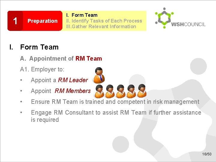 1 Preparation I. Form Team II. Identify Tasks of Each Process III. Gather Relevant