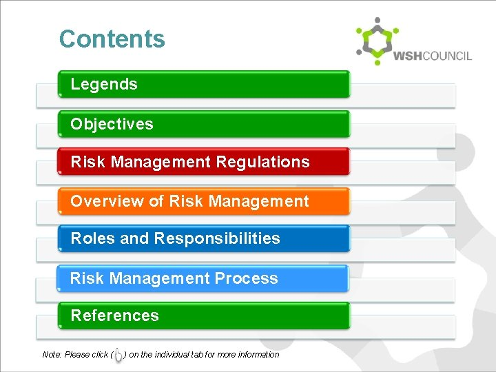 Contents Legends Objectives Risk Management Regulations Overview of Risk Management Roles and Responsibilities Risk
