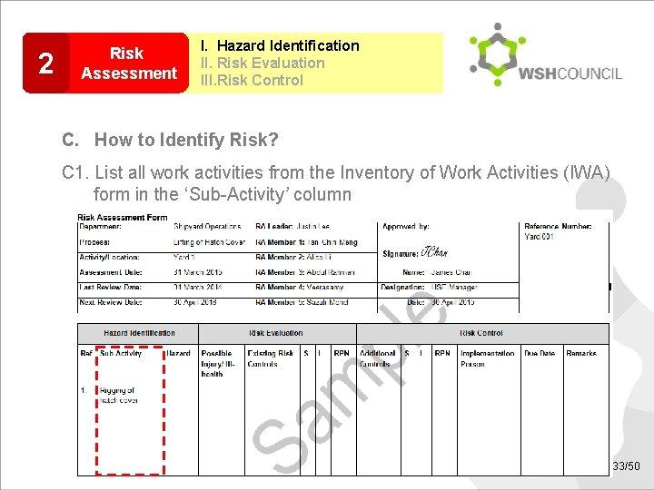 2 Risk Assessment I. Hazard Identification II. Risk Evaluation III. Risk Control C. How
