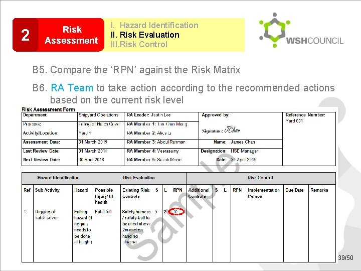 2 Risk Assessment I. Hazard Identification II. Risk Evaluation III. Risk Control B 5.