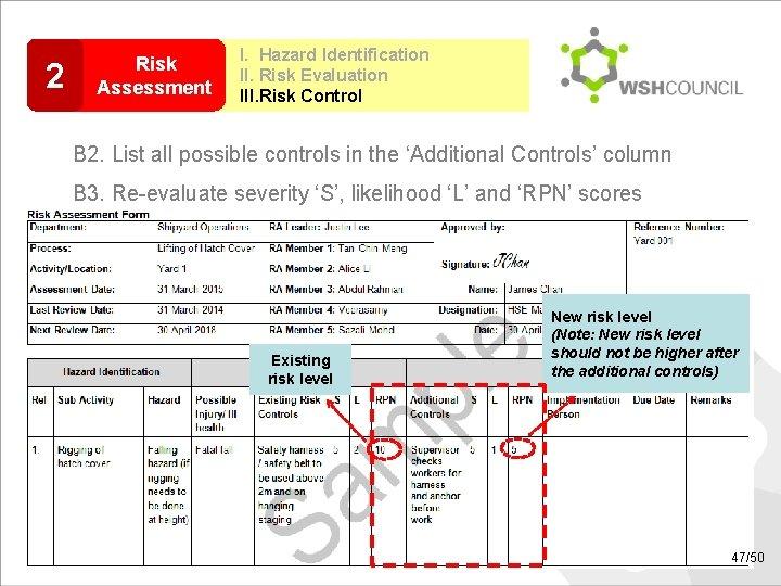2 Risk Assessment I. Hazard Identification II. Risk Evaluation III. Risk Control B 2.