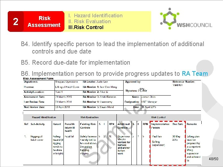 2 Risk Assessment I. Hazard Identification II. Risk Evaluation III. Risk Control B 4.
