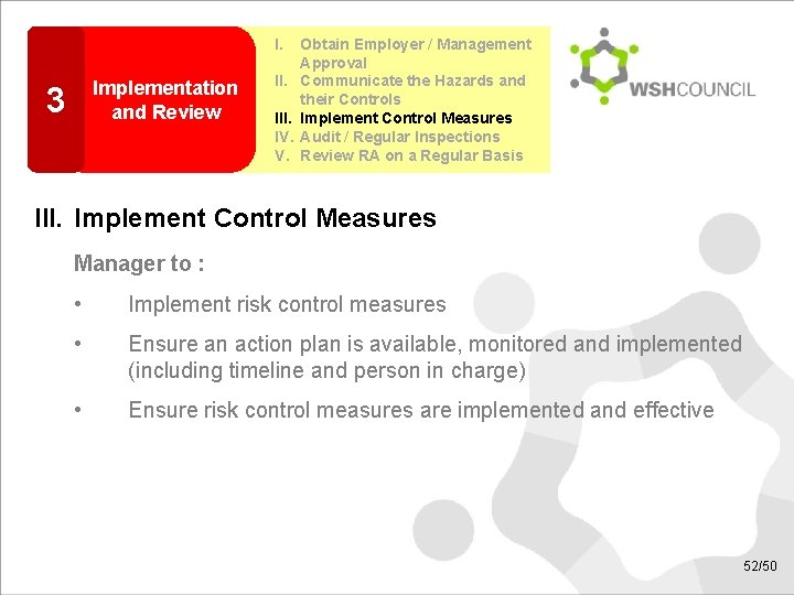 I. Implementation and Review 3 II. IV. V. Obtain Employer / Management Approval Communicate