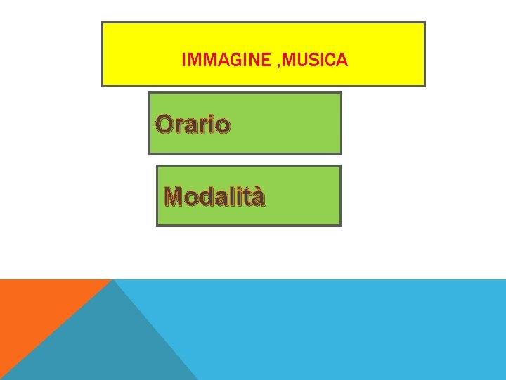 IMMAGINE , MUSICA Orario Modalità