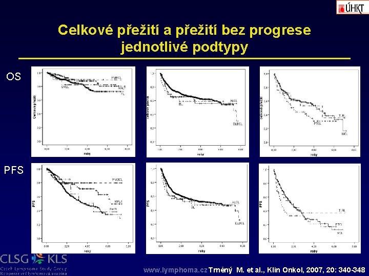 Celkové přežití a přežití bez progrese jednotlivé podtypy OS PFS www. lymphoma. cz Trněný