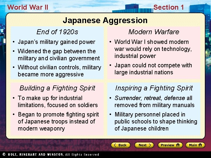 World War II Section 1 Japanese Aggression End of 1920 s • Japan's military