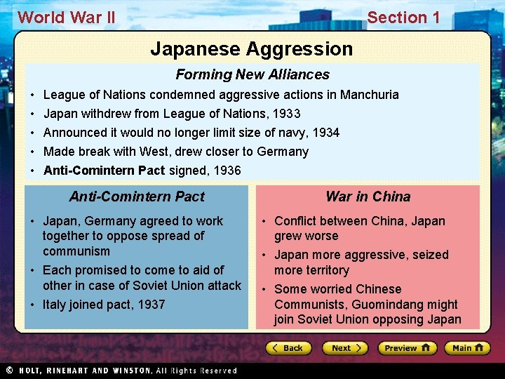 World War II Section 1 Japanese Aggression Forming New Alliances • • • League