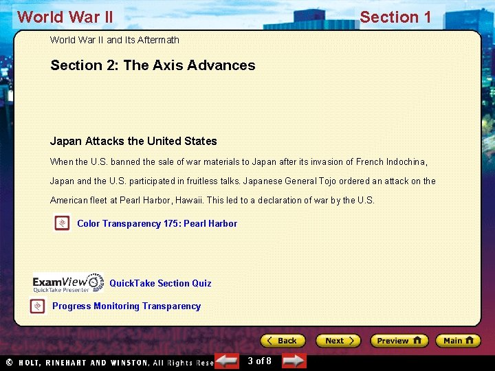 World War II Section 1 World War II and Its Aftermath Section 2: The
