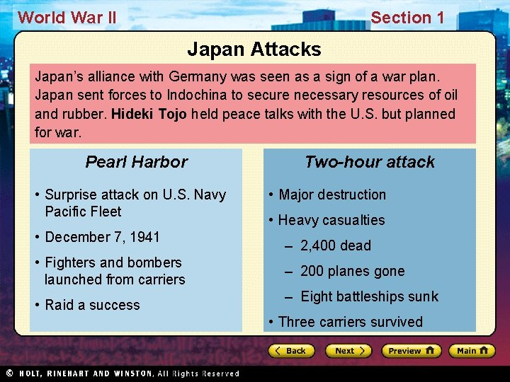 World War II Section 1 Japan Attacks Japan's alliance with Germany was seen as