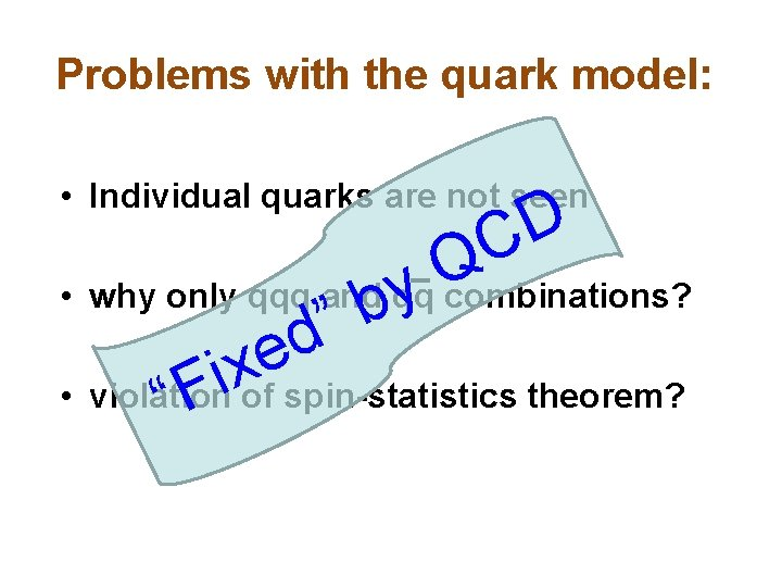 """Problems with the quark model: • Individual quarks are not seen y b """""""
