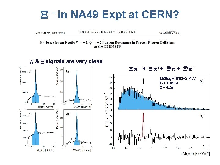 - - in NA 49 Expt at CERN? L & signals are very