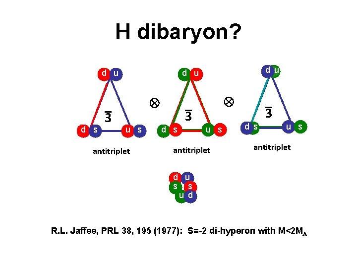 H dibaryon? d u d s _ 3 d u u s antitriplet _