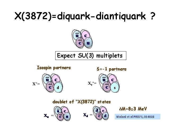 X(3872)=diquark-diantiquark ? Expect SU(3) multiplets Isospin partners X-= d S=-1 partners Xs-= s doublet