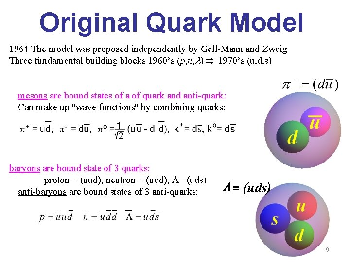 Original Quark Model 1964 The model was proposed independently by Gell-Mann and Zweig Three