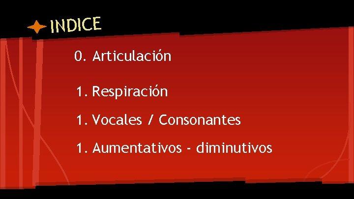 INDICE 0. Articulación 1. Respiración 1. Vocales / Consonantes 1. Aumentativos - diminutivos