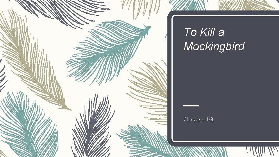 To Kill a Mockingbird Chapters 1 -3