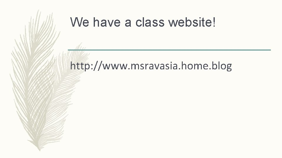 We have a class website! http: //www. msravasia. home. blog