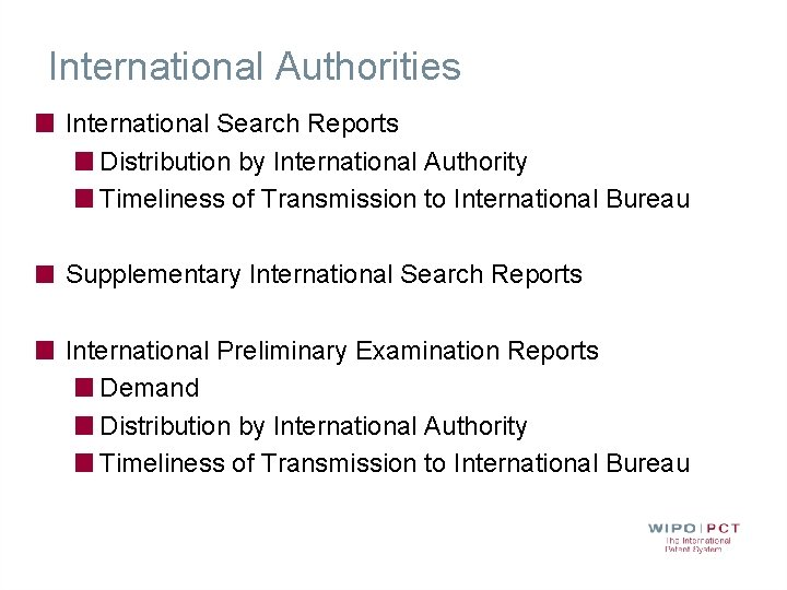 International Authorities International Search Reports Distribution by International Authority Timeliness of Transmission to International