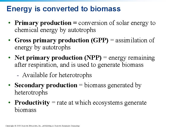 Energy is converted to biomass • Primary production = conversion of solar energy to