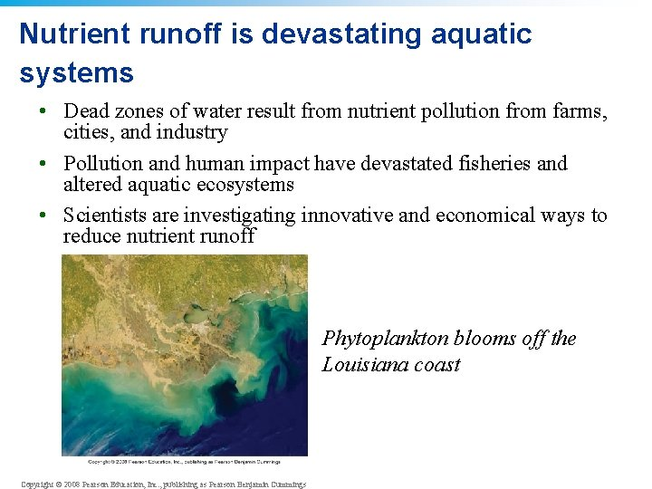 Nutrient runoff is devastating aquatic systems • Dead zones of water result from nutrient