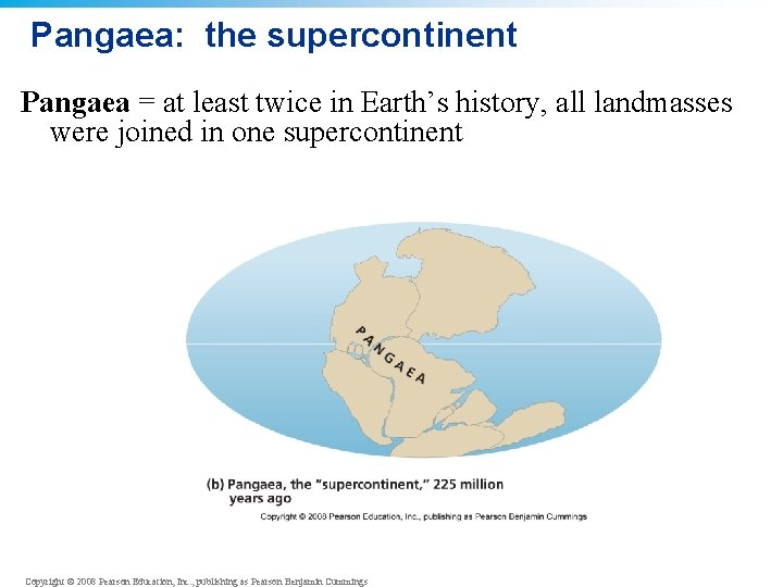 Pangaea: the supercontinent Pangaea = at least twice in Earth's history, all landmasses were