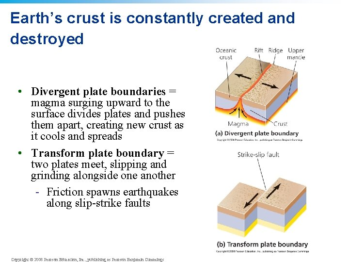 Earth's crust is constantly created and destroyed • Divergent plate boundaries = magma surging