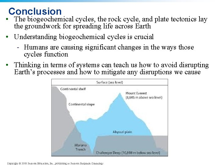 Conclusion • The biogeochemical cycles, the rock cycle, and plate tectonics lay the groundwork