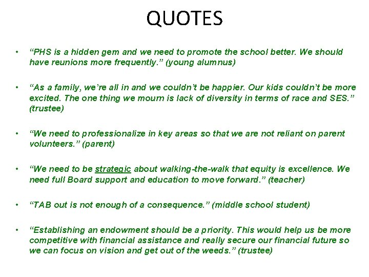 """QUOTES • """"PHS is a hidden gem and we need to promote the school"""