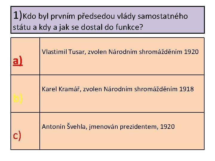 1)Kdo byl prvním předsedou vlády samostatného státu a kdy a jak se dostal do