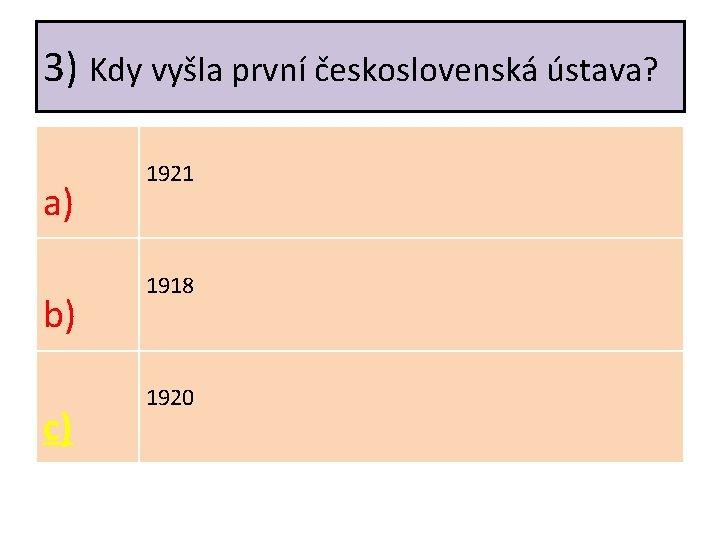 3) Kdy vyšla první československá ústava? a) b) c) 1921 1918 1920