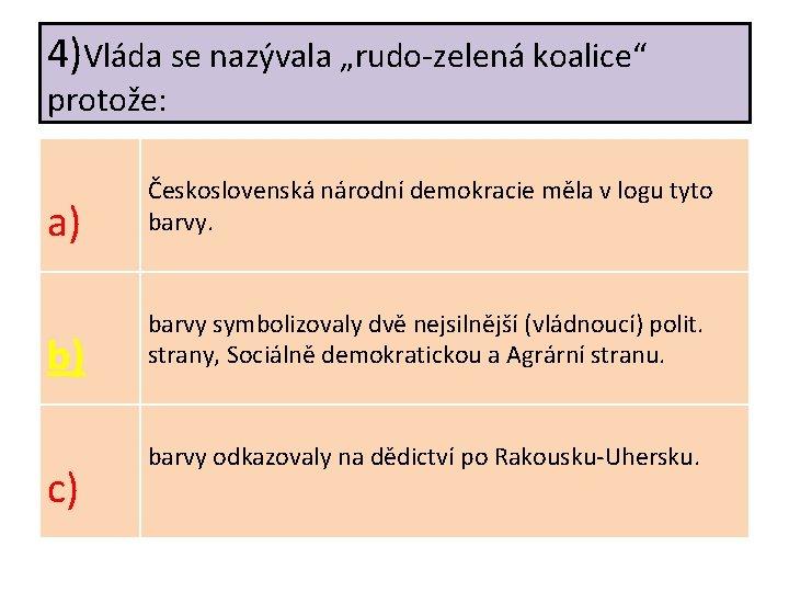 """4)Vláda se nazývala """"rudo-zelená koalice"""" protože: a) Československá národní demokracie měla v logu tyto"""