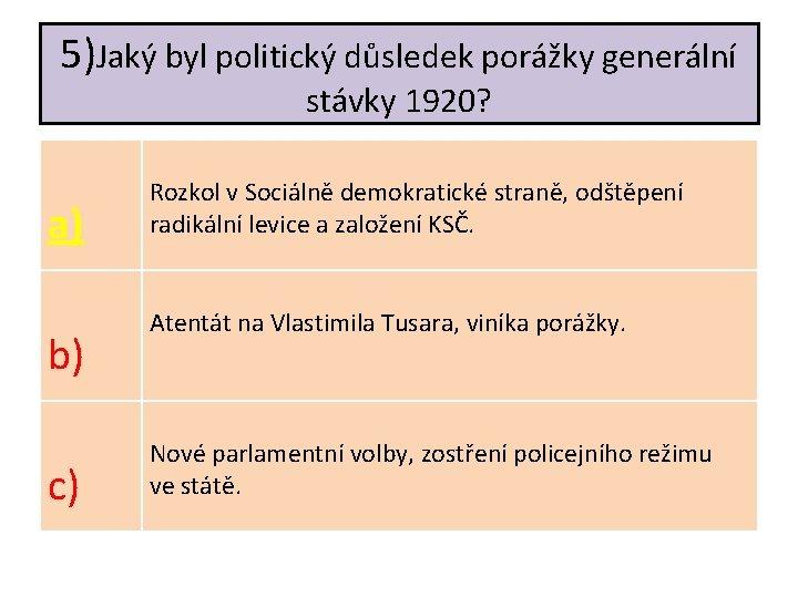 5)Jaký byl politický důsledek porážky generální stávky 1920? a) b) c) Rozkol v Sociálně