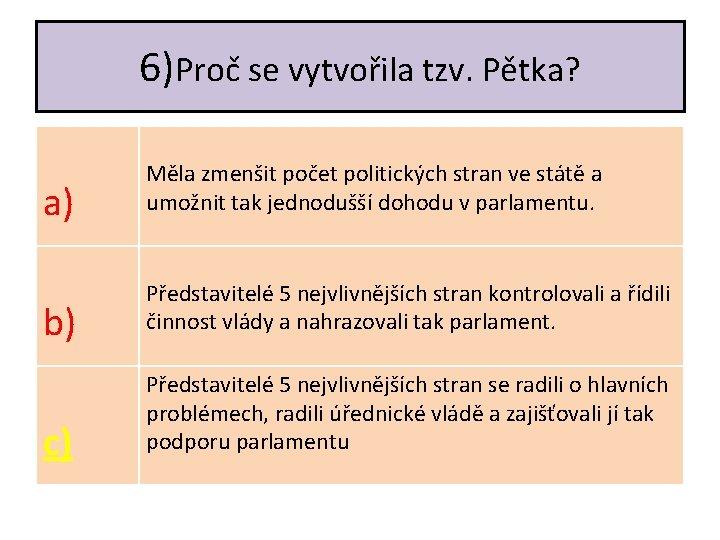 6)Proč se vytvořila tzv. Pětka? a) Měla zmenšit počet politických stran ve státě a