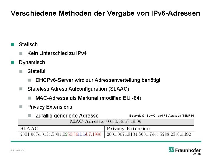 Verschiedene Methoden der Vergabe von IPv 6 -Adressen n Statisch n Kein Unterschied zu
