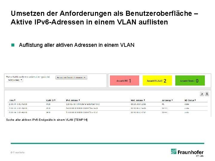 Umsetzen der Anforderungen als Benutzeroberfläche – Aktive IPv 6 -Adressen in einem VLAN auflisten
