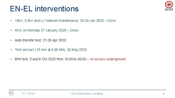 EN-EL interventions • 18 k. V, 3. 3 k. V and LV network maintenance:
