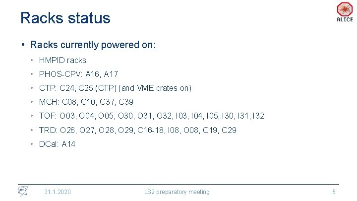 Racks status • Racks currently powered on: • HMPID racks • PHOS-CPV: A 16,