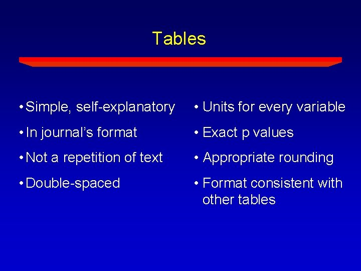 Tables • Simple, self-explanatory • Units for every variable • In journal's format •